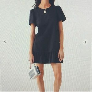 Black Forever 21 Ruffle-Hem Shift Dress